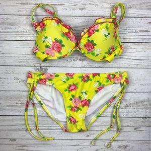 Xhilaration Ruffle 2 Piece Bikini Bathing Suit
